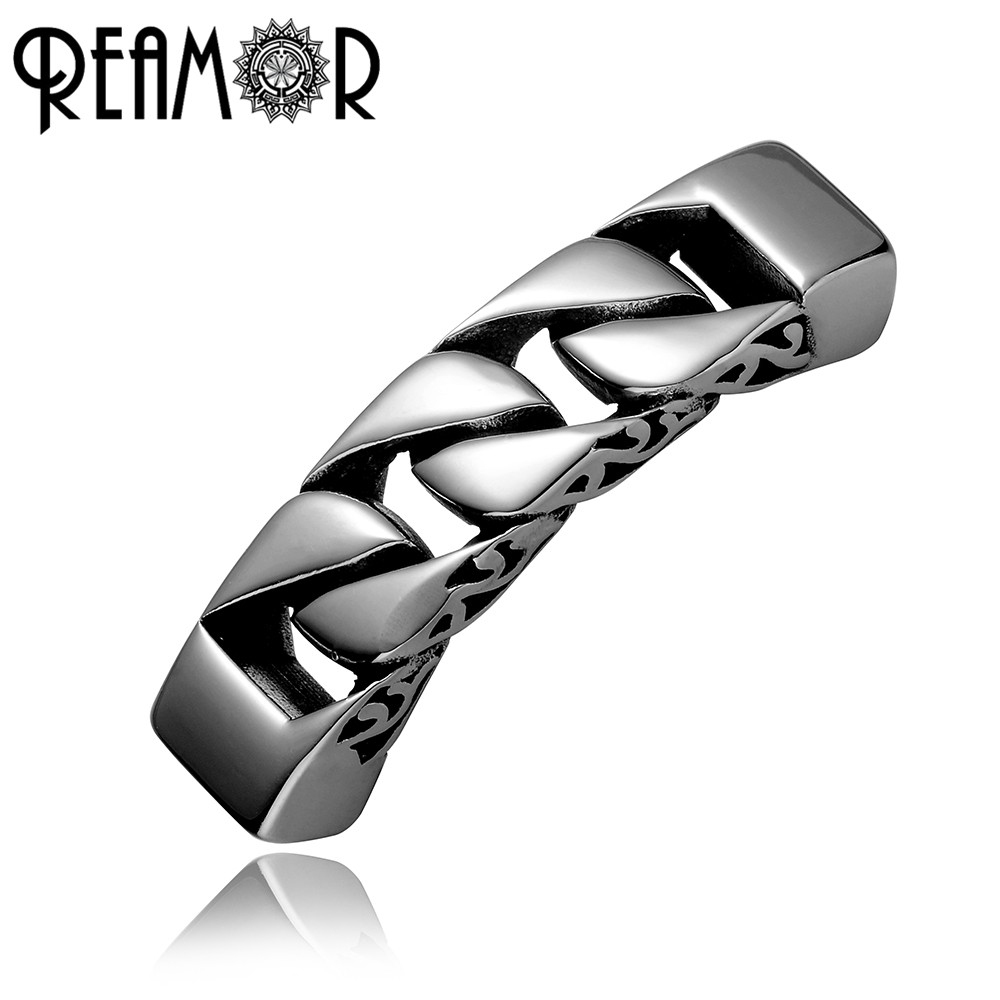REAMOR 12*6mm Hole Size Stainless Steel Totem Knot Connectors Charms For DIY Men Bracelets & Bangles Jewelry Making Metal Bead