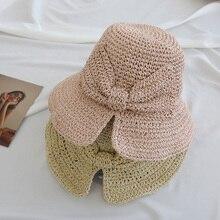 Модные летние женские кепки s Ретро Тканые лук Твердые складные солнцезащитная Кепка Ведро пляжные повседневные шляпы