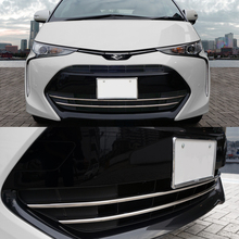 цена на JY 2pcs SUS304 Stainless Steel Front  Grill Trim Lower  Car Styling Cover Accessories For Toyota Previa Estima Tarago 2016 up