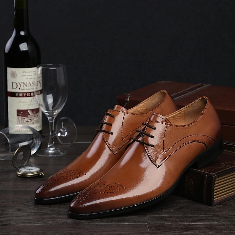 ФОТО 2017 Men's Genuine Leather Shoes Dress Wedding Formal Oxfords Brogue Shoe Lacing Pointed Toe 3colors EU38-44 Wholesale&Retail