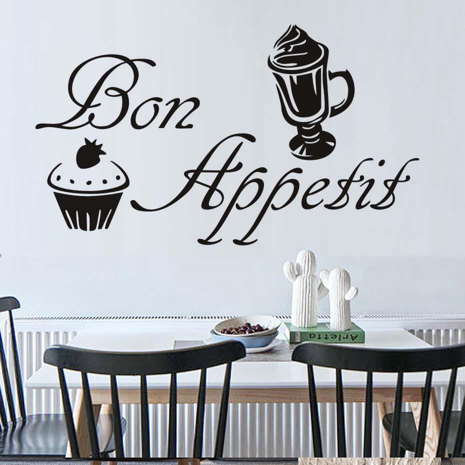 French Bon Appetit Quotes Vinyl Wall Sticker Kitchen Dining Room Removable Home Decor Ice-Cream Cake Wall Decals Decoration