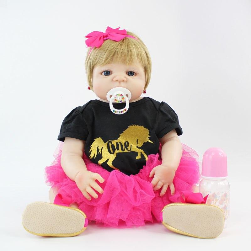 все цены на 55cm Full Silicone Reborn Baby Doll Toy 22'' Soft Vinyl Newborn Princess Babies Girl Bonecas Blonde Alive Bebe Kids Bathe Toy онлайн