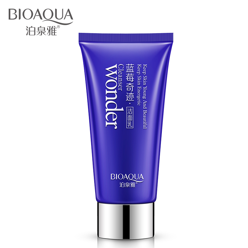 BIOAQUA Blueberry Facial Cleanser Plant Extract Rich Foaming Facial Cleansing Moisturizing Oil Control Face Skin Care