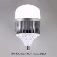 Wysokiej Mocy 30 W 50 W 80 W 100 W 150 W Żarówka LED E40 E27 220 V Lampa LED Wysokiej Jasne Diody LED dla Magazynu Inżynier Kwadratowych