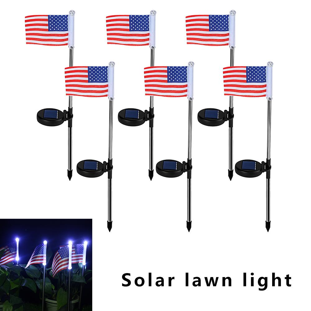 6pcs/set American Flag Solar Light Outdoor LED Solar Powered Garden Pathway Lawn Light Flag Shaped Landscape Yard Lamp цена