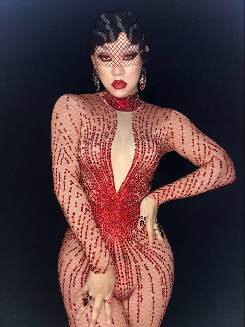 Sexy Evening Red Rhinestones Jumpsuit Women s Stretch Jumpsuit Outfit Full  Stone Bodysuit Sparkly Rhinestones Stage Costume 61baab10d