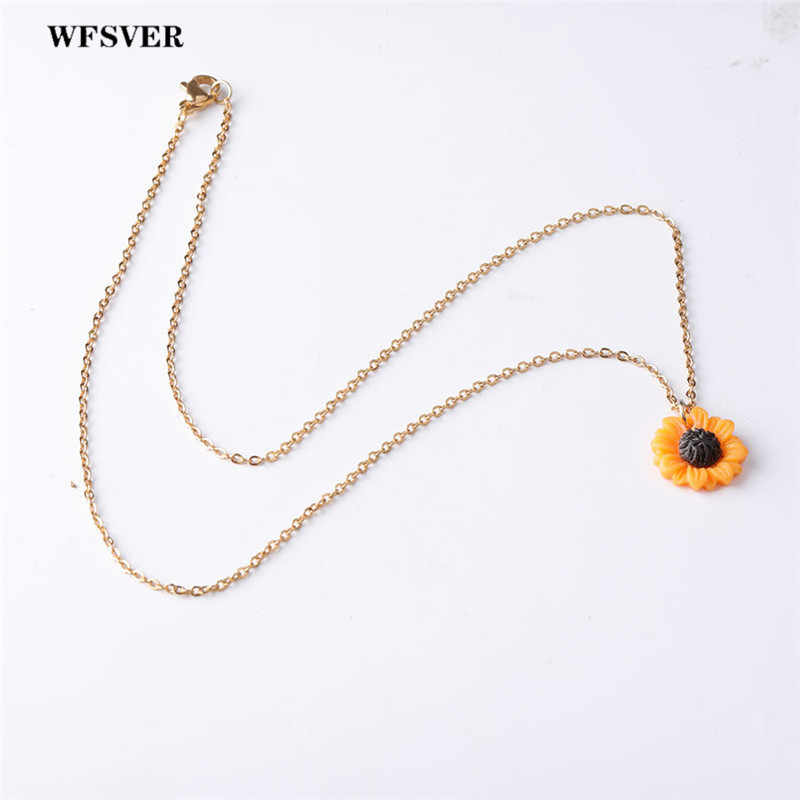 WFSVER Fashion Jewelry Sun Flower Necklace Exquisite Sunflower Pendant Necklace Female Stainless Steel Jewelry Gift