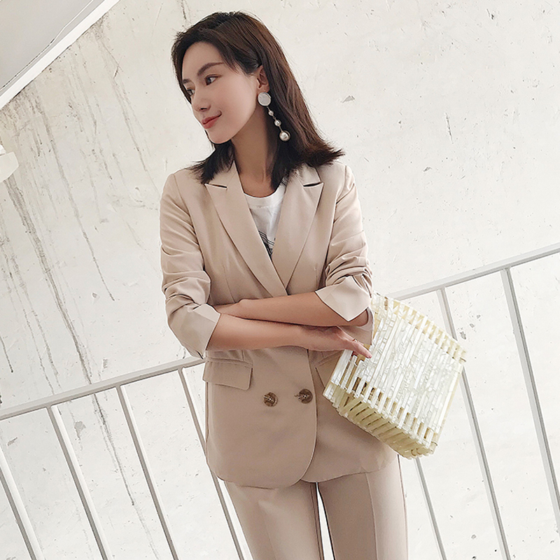 Elegant Double Breasted Women Pant Suit Slim Blazer & Elastic Waist Pencil Pant  OL Style 2 Pieces Set 2018 Autumn