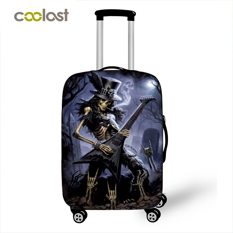 Rock Skull Play Guitar Punk Print Luggage Protective Covers Travel Accessories Elastic Suitcase Cover Anti-dust Case Covers