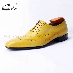 Image 2 - Cie vierkante teen laceup gemengde kleuren oxfords brilliant geel pure echt leer mannen casual schoen ademend handmadeOX311