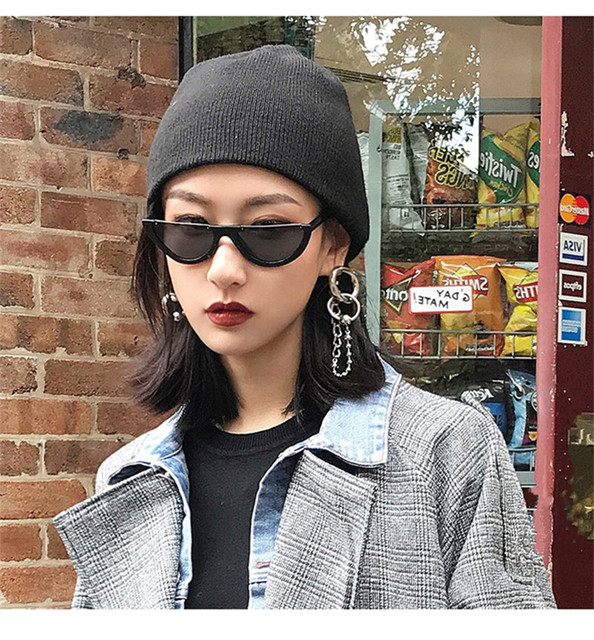 Cool Trendy Half Frame Rimless Cat Eye Sunglasses Women Fashion Clear Brand Designer Sun glasses For Female Oculos de sol