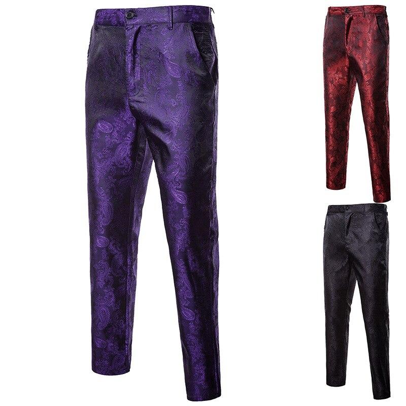 Red purple black flower pants men autumn and spring mens dress pant size M L XL XXL XXXL
