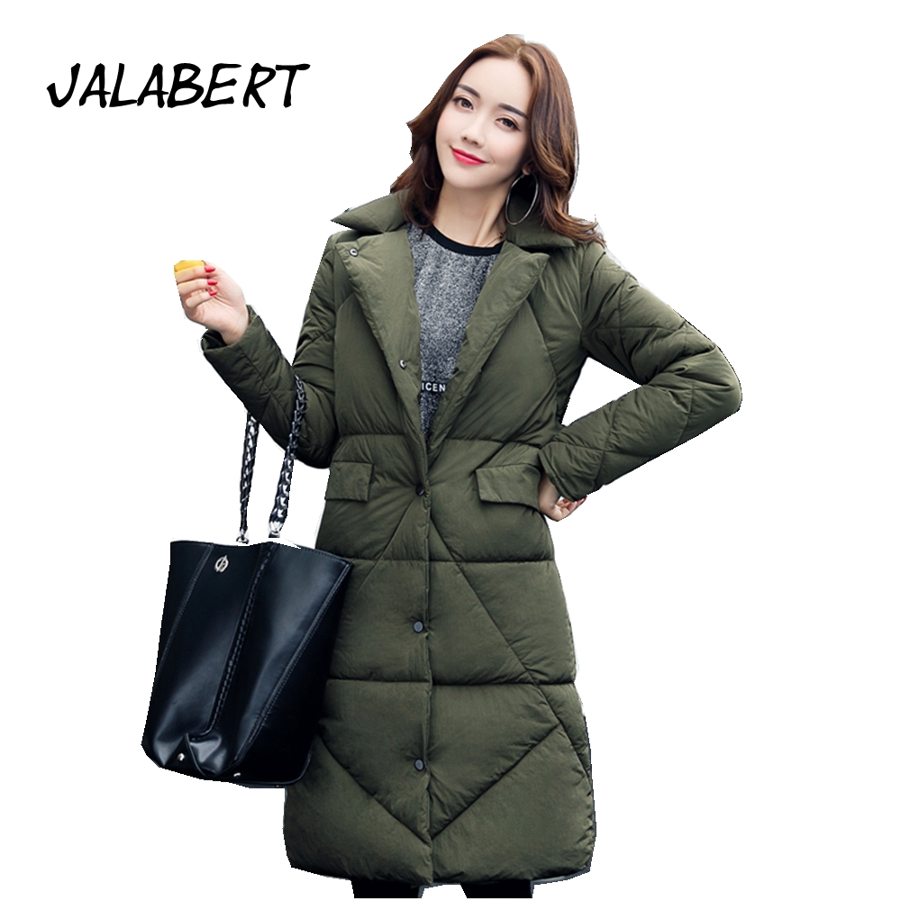 2017 new women winter lapel pocket long full warm cotton jacket female loose feather slim parkas single breasted coats 2016 new warm winter coats for women european high end slim belt long double breasted lapel women s long down jacket winter