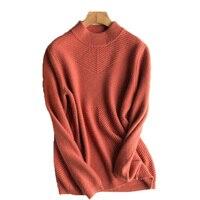 100% קשמיר העז Oneck למחצה גבוהה טוויל לסרוג סוודר סוודרים של נשים בז '7 צבעים S-3XL הקמעונאי סיטונאי