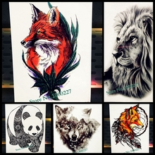 Waterproof Wolf Red Fox Tattoo Sticker For Men Women Water Transfer Body Art Fake Tatoo Decals Temporary Tattoo Stickers PHB-232