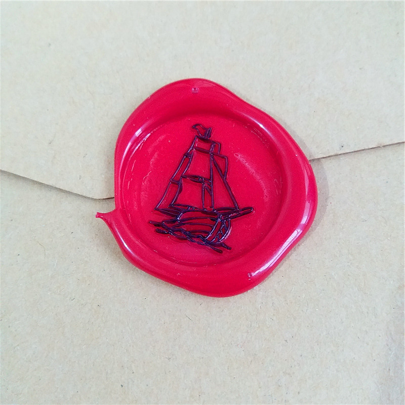 ferry sailboat boat ailboat Boat Wax Seal Stamp Kit Wedding Invitation Sealing Wax Stamp Kits Custom Wax Seal Paper Wooden Gift lace fower vintage wedding invitations laser cut blank paper pattern printing invitation card kit ribbons decorations