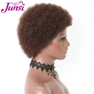 Image 5 - JUNSI Saç Kadın Afro Kısa Kıvırcık Peruk Kadınlar için Cosplay Sentetik Perruque (Renk: Kahverengi)