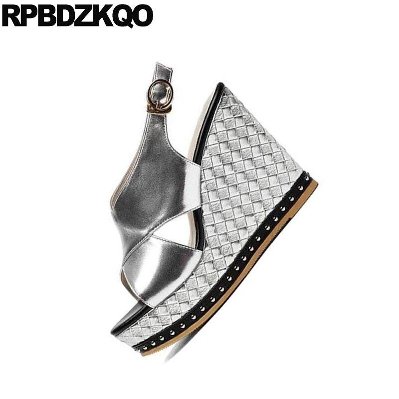 Slingback Toe Tacón Peep Fetiche Extremo Remache Zapatos Alto 5Rq43jLA