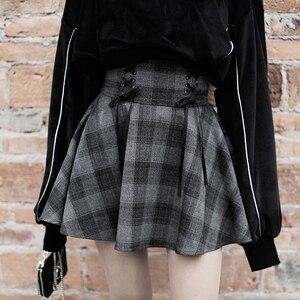 Image 3 - Nouveau gothique printemps automne gris Plaid jupes Shorts femmes plissée jupe courte Punk fille s jupe courte a ligne Mini jupe