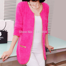 women cardigans 2015 New women's solid color long cardigan Cashmere mohair with gold edge women knitted cardigan free shipping