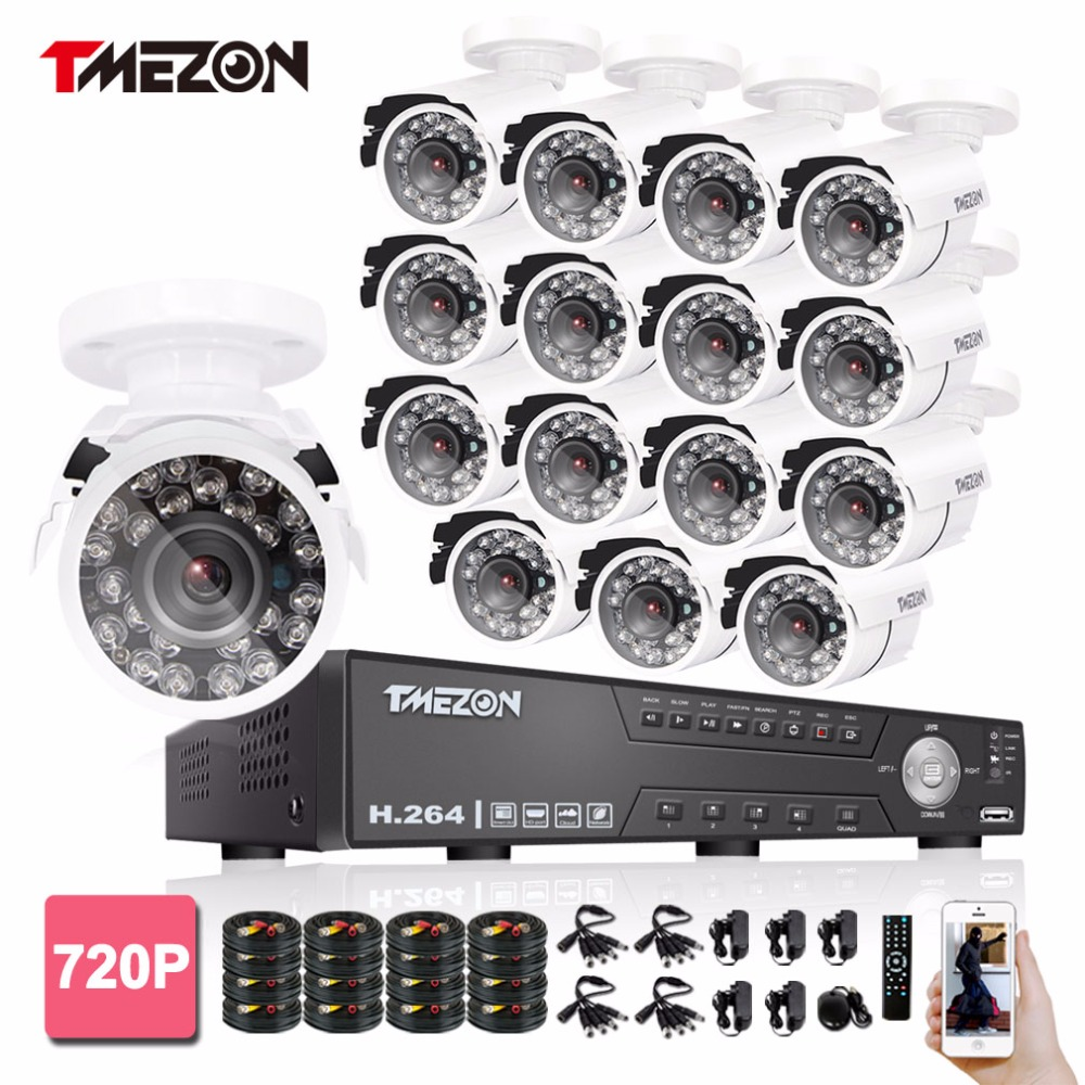 Tmezon 16CH 1080N DVR 16pcs 720P 1200TVL Camera Security Surveillance CCTV System Outdoor IR Night Vision Bullet Waterproof Kit home security system 16ch h 264 motion detect camera system dvr kit with 800tvl waterproof outdoor ir night vision cctv camera