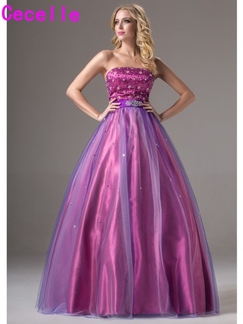 2017 Simple Purple Long Ball Gown Prom Dresses Two Tones Floor Length  Strapless Beaded Princess Senior Teens Formal Prom Gown-in Prom Dresses  from ...