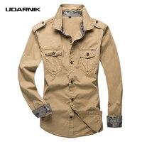Men Safari Style Cotton Shirt Plus Size Casual Long Sleeve Cargo T Shirts Military Double Pockets