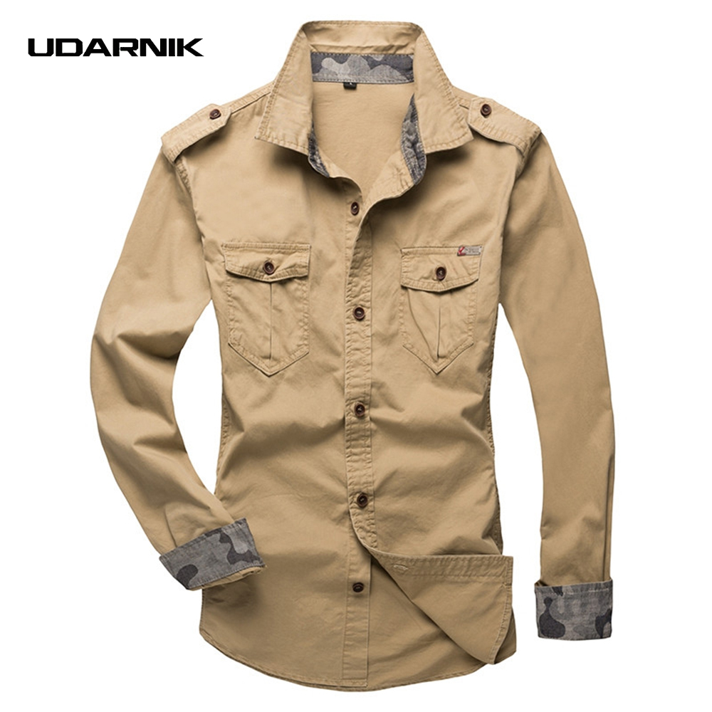 Men Safari Style Cotton Shirt Plus Size Casual Long Sleeve Cargo Military Double Pockets Top Multi Color 904-303