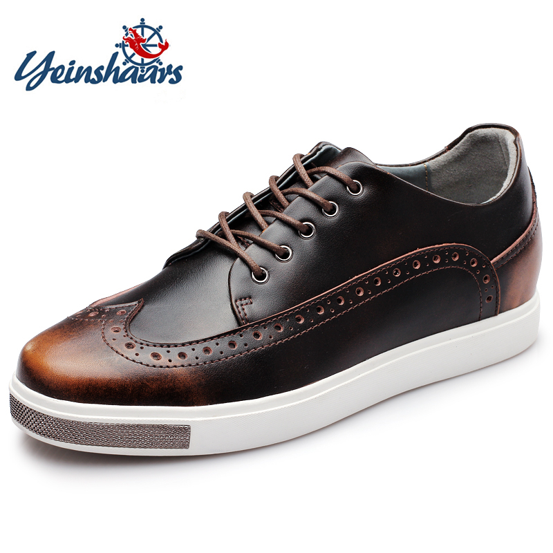 YEINSHAARS Men Elevator Casual Shoes 6 CM Height Increasing Genuine Leather Shoes Men Chaussure Homme Fashion Shoes
