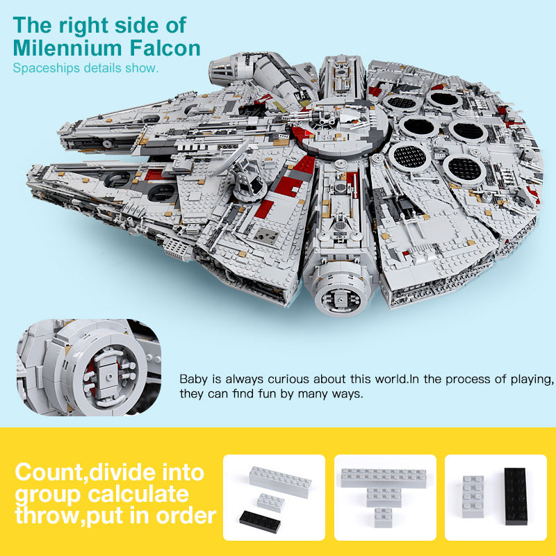 US $236 0 20% OFF|lepin 05132 set star destroyer millennium falcon  compatible with LegoINGlys 75192 bricks kit building blocks birthday  gifts-in