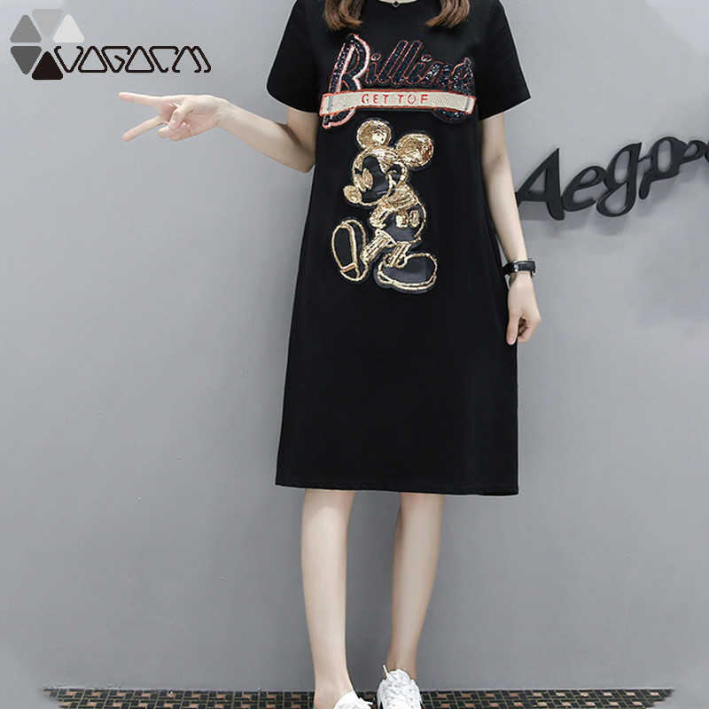 Women Summer Dress Minnie Mouse Print Fashion Loose Short Sleeve Plus Size  Female High Quality Midi Dresses