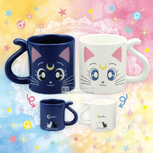 2 pieces lot 1pairs Cute Anime Sailor Moon Crystal Cat Coffee Mug Cartoon Water Milk Cups