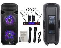 STARAUDIO Pro DJ 15 4500W Powered LED BT PA Speaker W UHF Headset Mic System 2