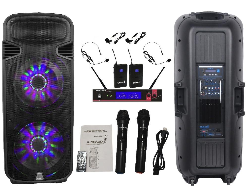 STARAUDIO Pro DJ 15 4500W Powered LED BT PA Speaker w/ UHF Headset Mic System 2 Wireless Mics