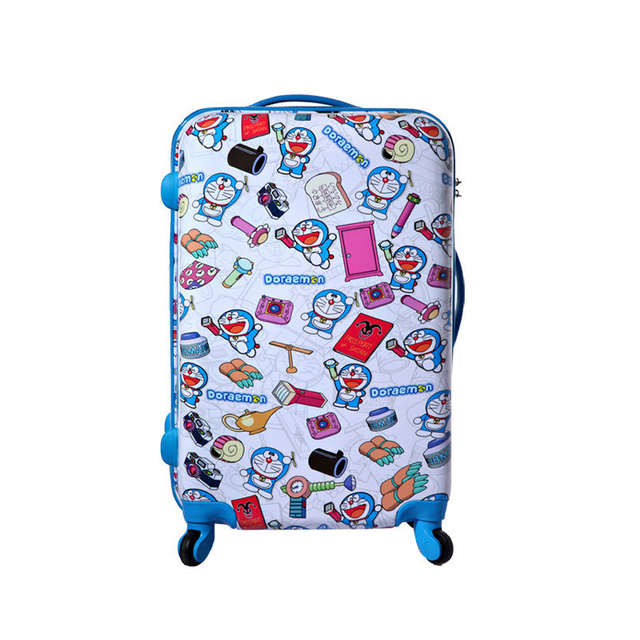 "New Doraemon Travel Suitcase Cartoon Cat Trolley Luggage Bag Universal Wheels Luggage 20"" 24"" Rolling Luggage"