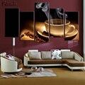 Картина с принтом масляной пасты  картина из кофейных зерен  холст  Настенная картина  без рамки  для гостиной  HD печать  современная  5 панеле...
