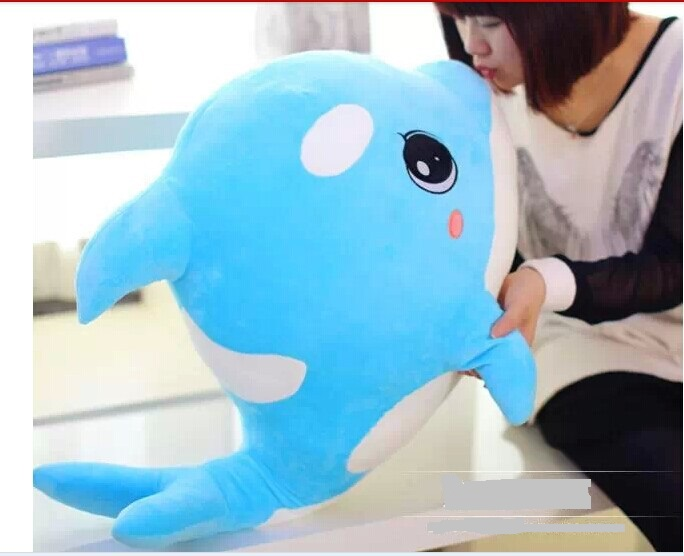 big lovely plush dolphin toy blue stuffed dolphin high quality whale doll birthday gift toy about 70x50cm big plush whale toy big head white foam dolphin doll pillow gift about 70cm