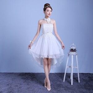 Image 2 - ZX D48BS #2019 nieuwe zomer korte lang voordat na shortparagraph bruid bruidsmeisje jurken trouwjurk meisjes vrouwelijke toast Wit
