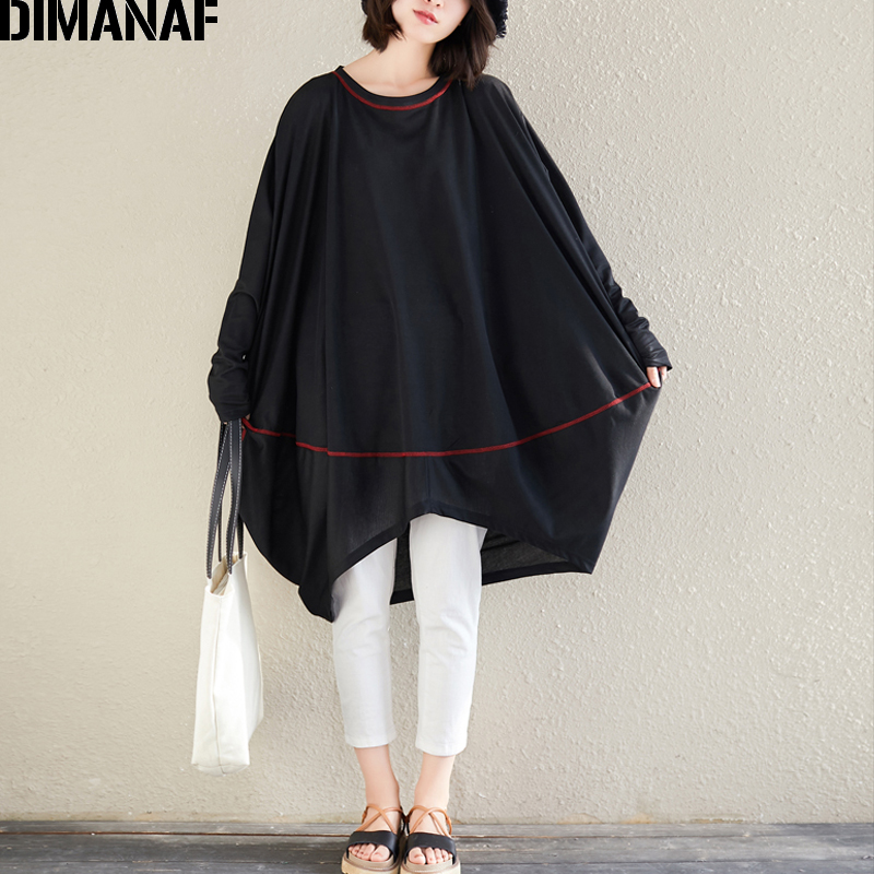 DIMANAF Plus Size Women T Shirts Lady Tops Tees Female Clothes Basic Solid Loose Batwing Sleeve Tunic Shirt Big Size 2019 Summer