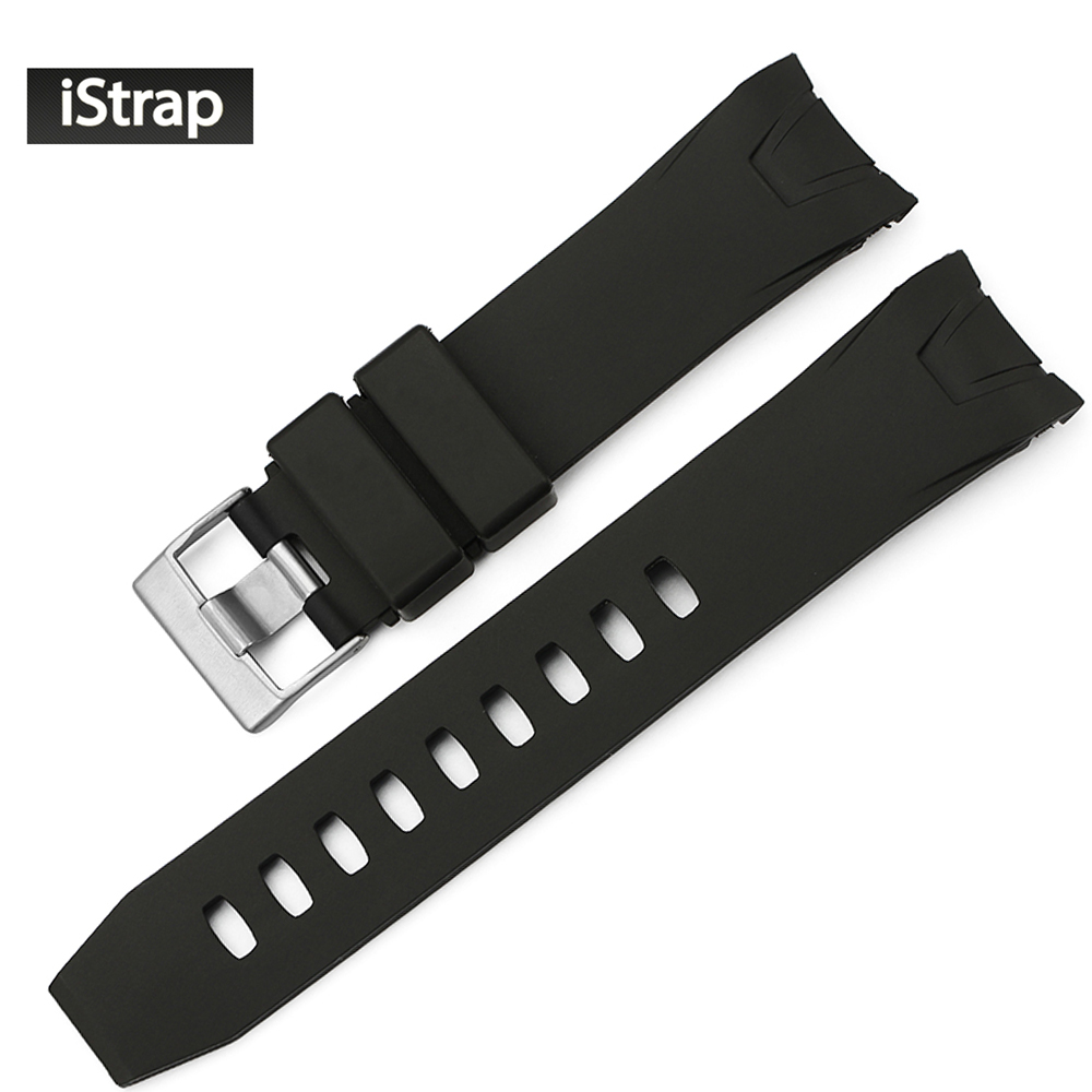 iStrap 22mm Black Rubber Watch Band Curved end Watch Strap Replacement Watchband for Omega Seamaster Planet Ocean jansin 22mm watchband for garmin fenix 5 easy fit silicone replacement band sports silicone wristband for forerunner 935 gps