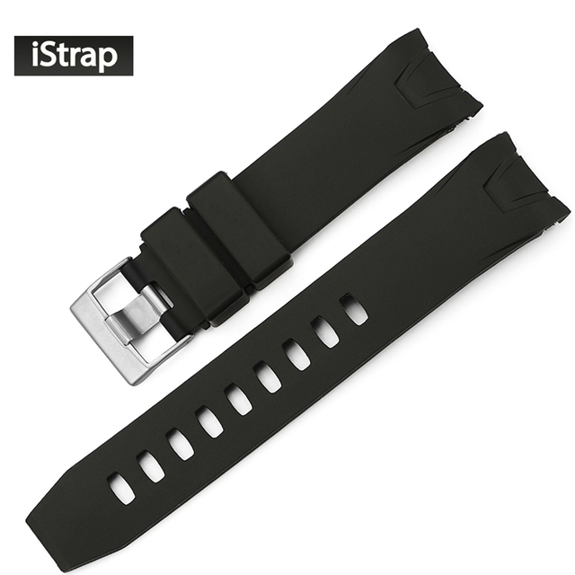 bd5f22ef9fc iStrap 22mm Black Rubber Watch Band Curved end Watch Strap Replacement  Watchband for Omega Seamaster Planet Ocean