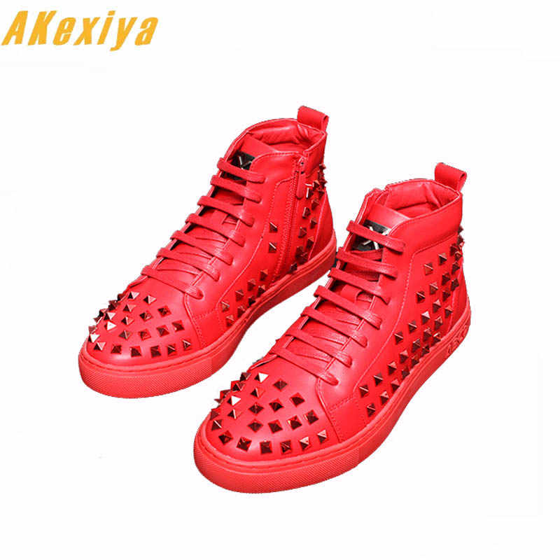 huge discount 6eb70 0034b Fashion Men High Top British Style Rrivet Shoes Men Causal Luxury Shoes Red  Black white Bottom rubber Hip hop Shoes for Male