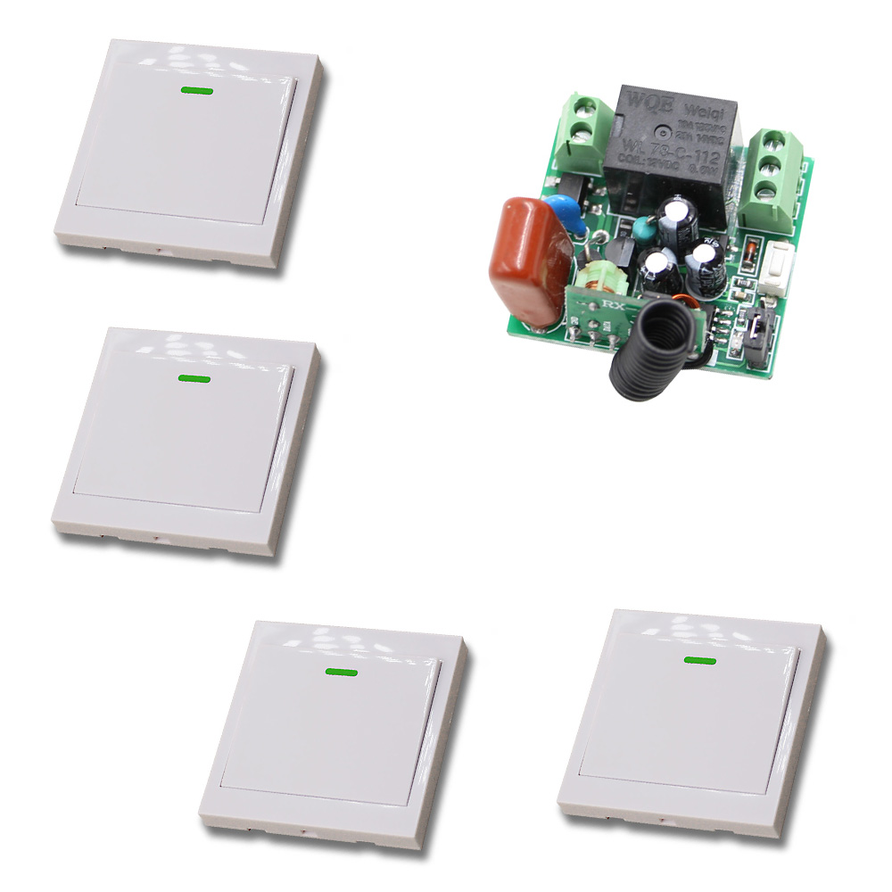 AC 220V 10A Wireless Remote Control Switch 1CH Relay Receiver Module Wall Transmitter Radio Light Switch Fixed Code 315/433Mhz