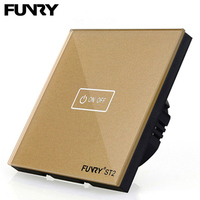 FUNRY Wall Mounted Touch Switch 1 Gang 1 Way Crystal Glass Panel Touch Screen Wall Light Switch 220V EU/UK 433mhz