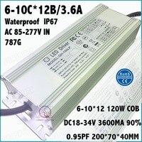 1 Pcs High PFC 120W AC85 277V LED Driver 6 10Cx12B 3 6A DC18 34V IP67