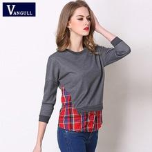 Vangull Plus Size 5XL Blouse Women Patchwork Sweatshirt Female O-neck Tops 2019
