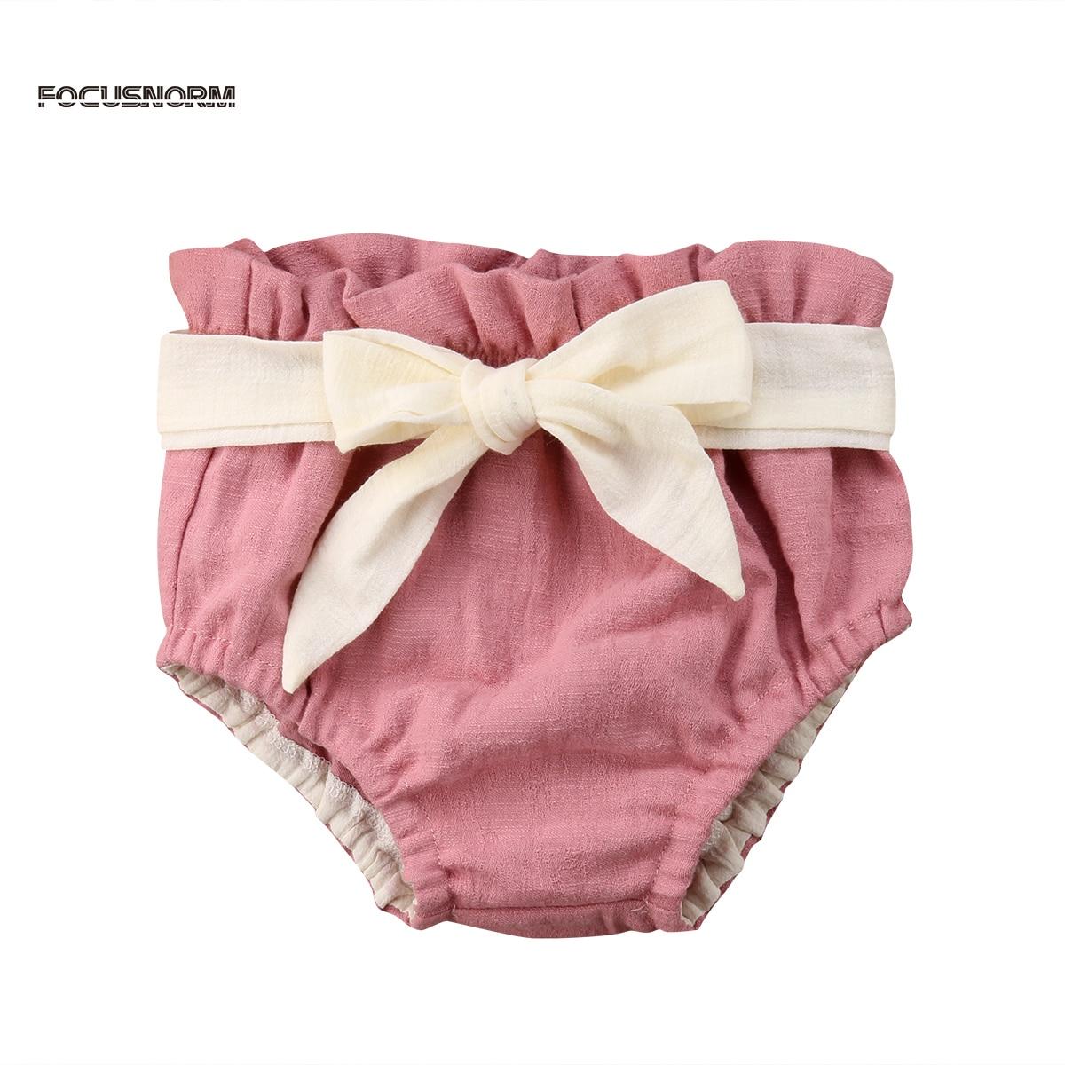 2018 Nuova Estate Del Bambino Neonate Maschi 0-24 M Elastico In Vita Alta Vita Fiocco Rosa Di Cotone Pp Shorts Prendisole Vestiti Del Bambino