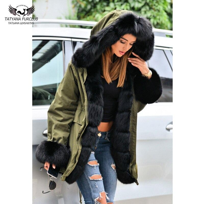 Avec Lapin Tatyana Outwear Renard De Chaud Furclub Naturel Armygreen Parkas Fourrure Nouveau Manteau Veste Longue Col Femmes Épaisse Doublure qwRrwPXA