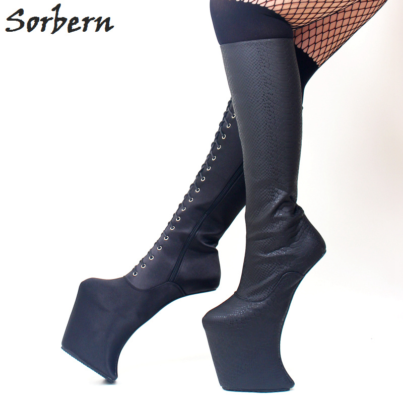 Sorbern Snakeskin Pattern Knee High Heelless Boots Platform High Heeled Crossdresser Shoes Custom Wide Fit Boot Zip Up Lady BootSorbern Snakeskin Pattern Knee High Heelless Boots Platform High Heeled Crossdresser Shoes Custom Wide Fit Boot Zip Up Lady Boot