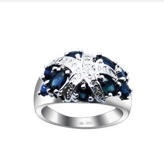 2017 Qi Xuan_Dark Blue Stone Starfish Ring_Fashion Ring_S925 Solid Silver Fashion Dark Blue Rings_Manufacturer Directly Sales